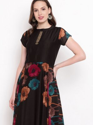 Art Silk Printed Party Wear Kurti in Black