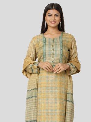 Art Silk Printed Salwar Kameez in Multi Colour