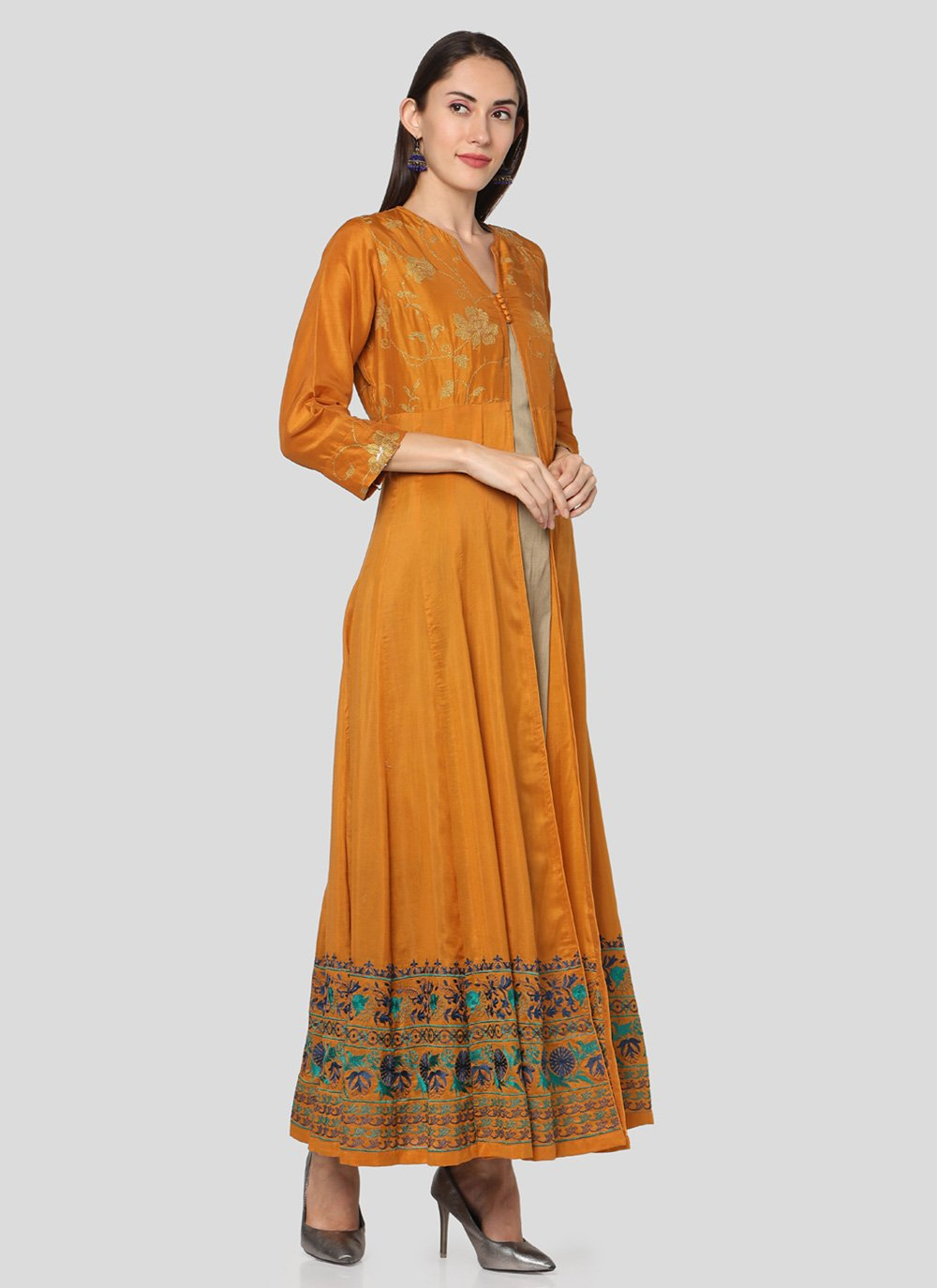 Art Silk Printed Salwar Suit in Mustard