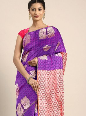 Art Silk Printed Saree in Violet