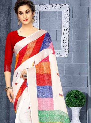 Art Silk Printed Saree in White