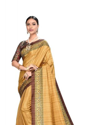 Art Silk Printed Saree in Yellow