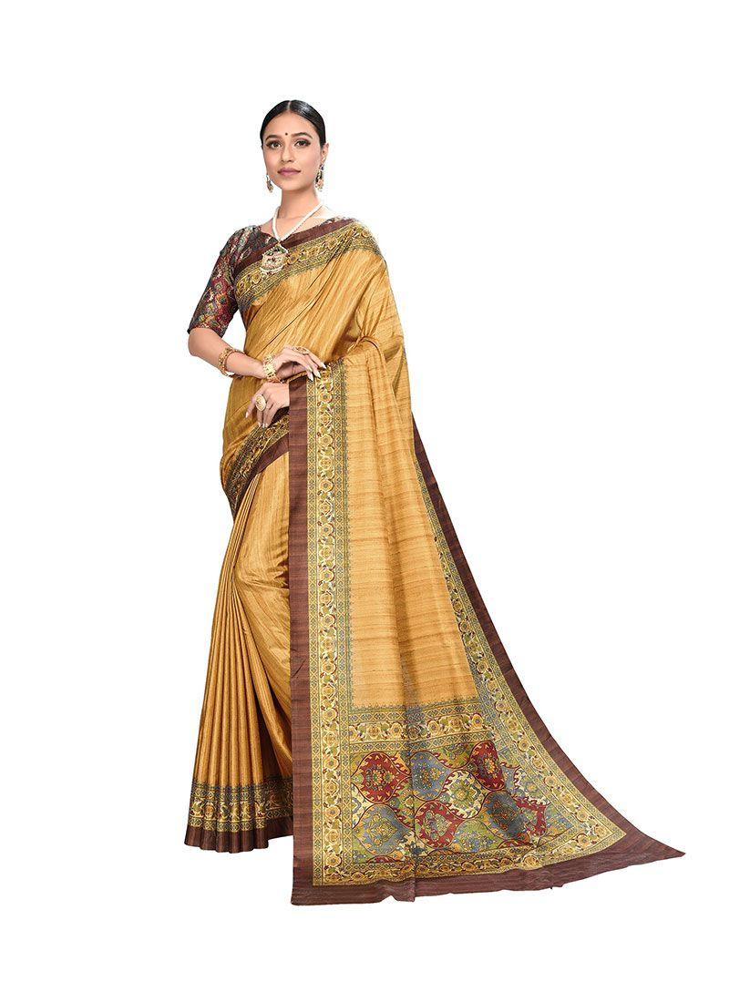 Art Silk Printed Saree in Yellow