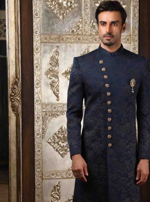 Art Silk Printed Sherwani in Blue