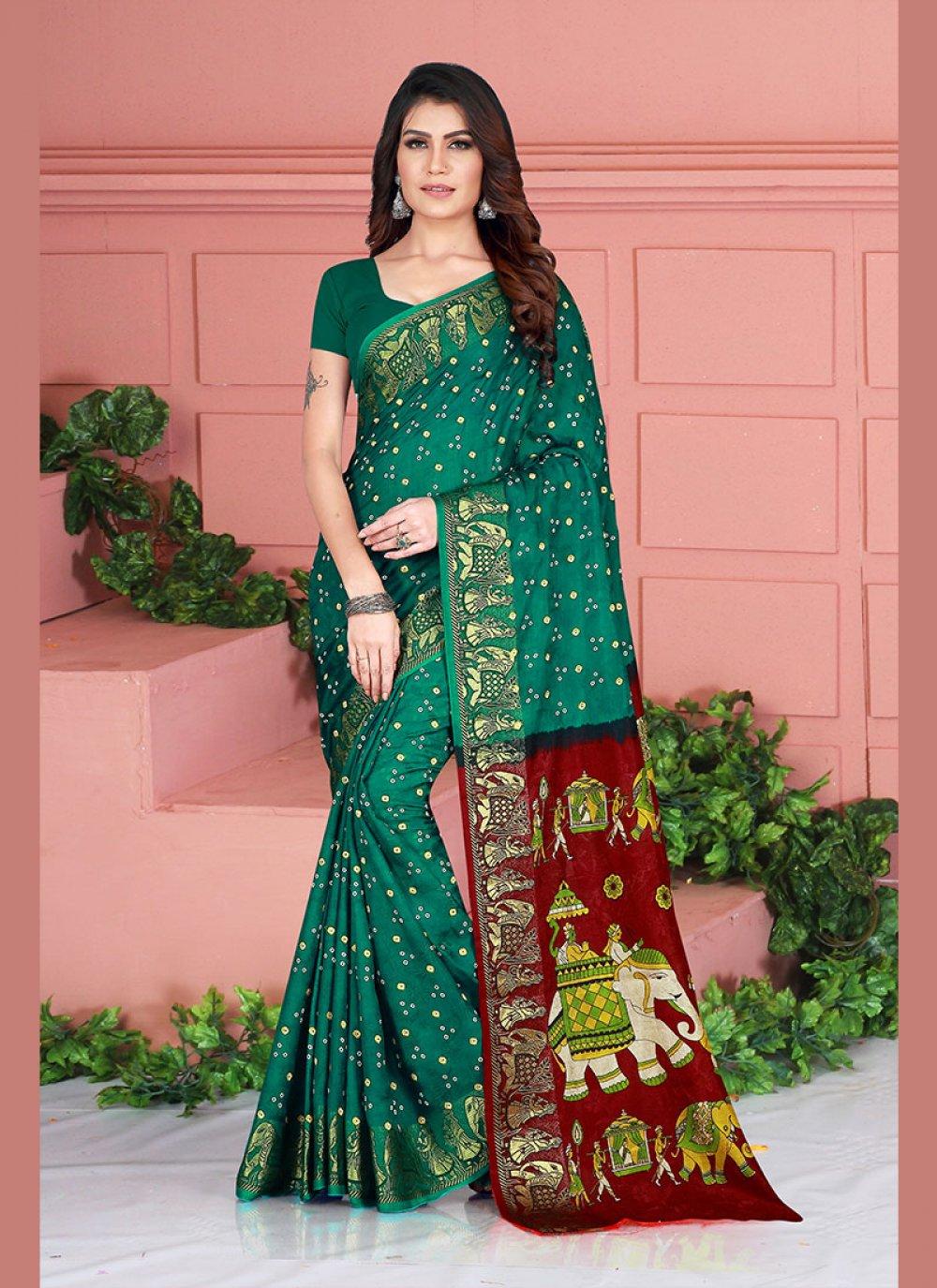 Art Silk Printed Traditional Saree in Green