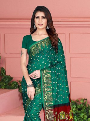 Art Silk Printed Traditional Saree in Green
