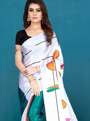 Art Silk Printed White Silk Saree