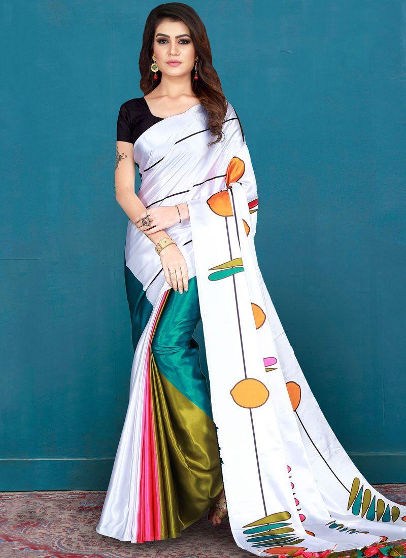Art Silk Printed White Silk Saree