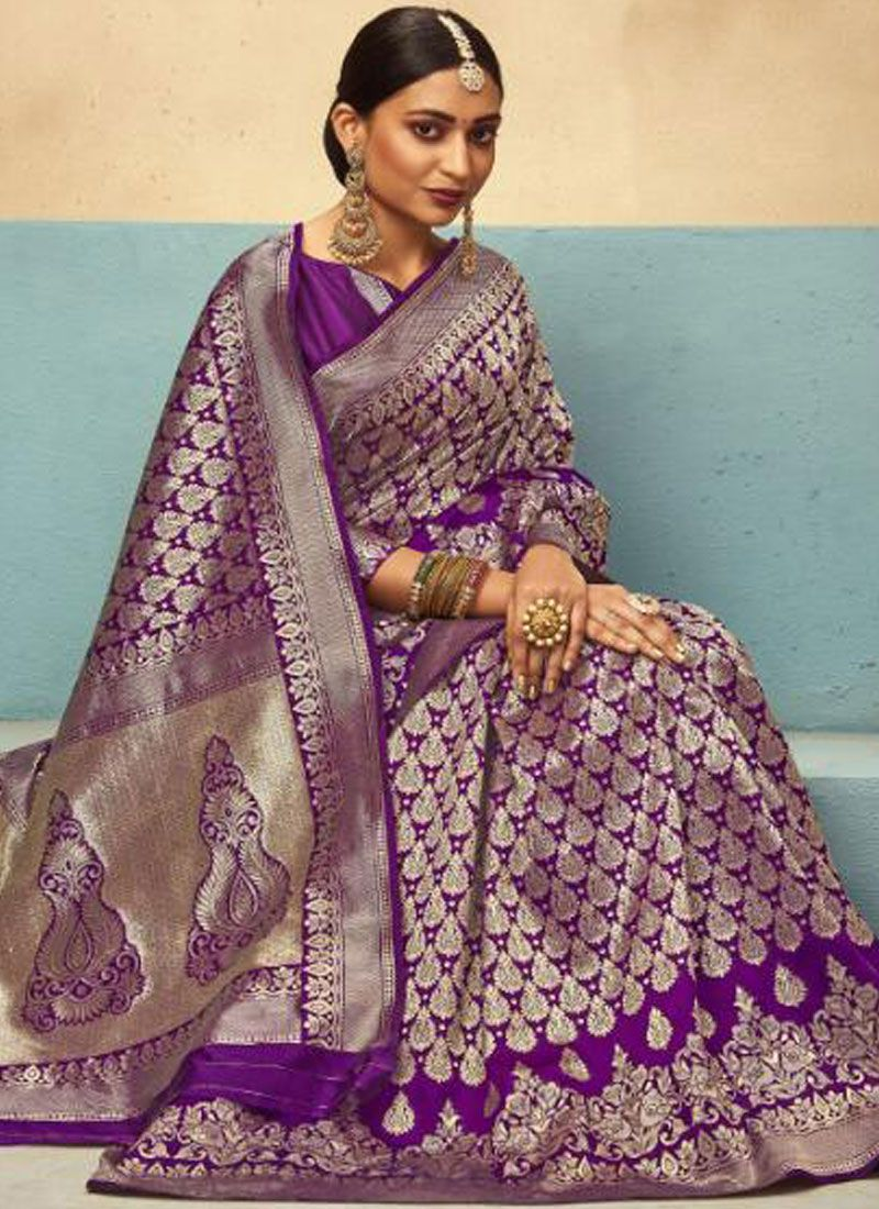 Art Silk Purple Designer Traditional Saree