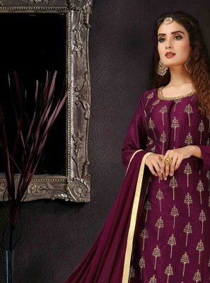 Art Silk Purple Embroidered Palazzo Salwar Kameez