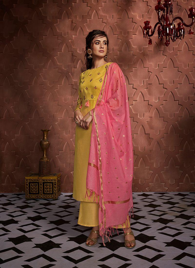 Art Silk Readymade Salwar Kameez in Yellow