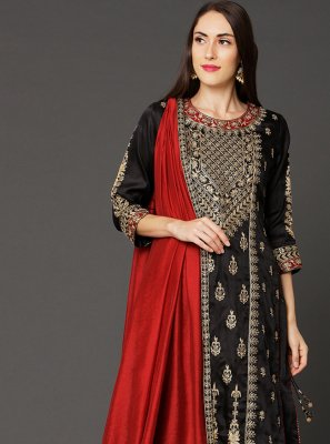 Art Silk Reception Designer Straight Salwar Kameez
