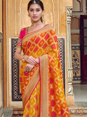 Art Silk Red and Yellow Printed Saree
