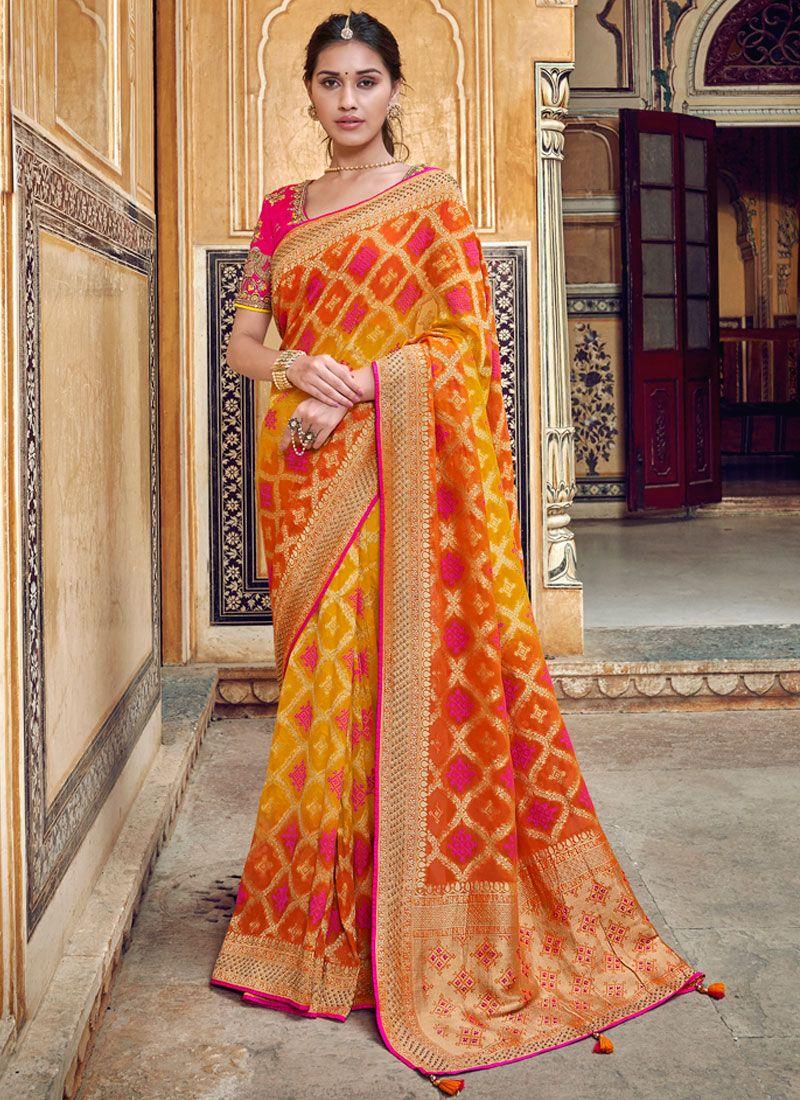 Art Silk Red and Yellow Printed Saree