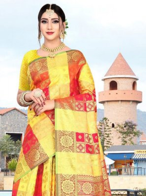 Art Silk Red and Yellow Weaving Classic Saree