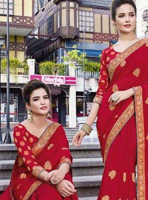Art Silk Red Classic Designer Saree