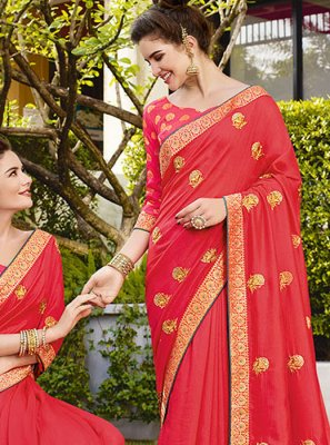 Art Silk Red Embroidered Classic Designer Saree