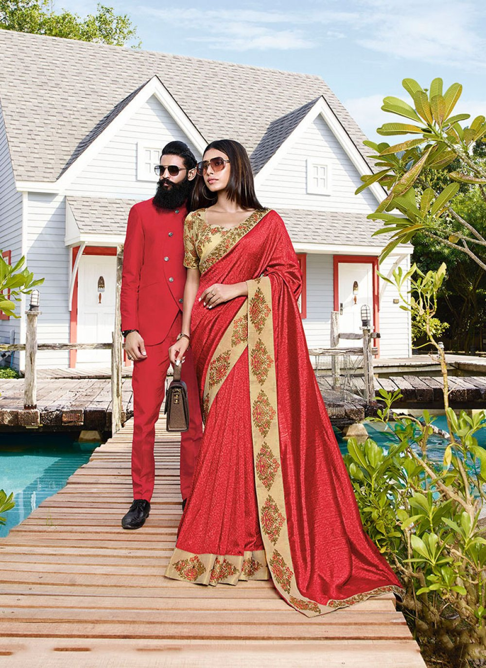 Art Silk Red Embroidered Classic Saree