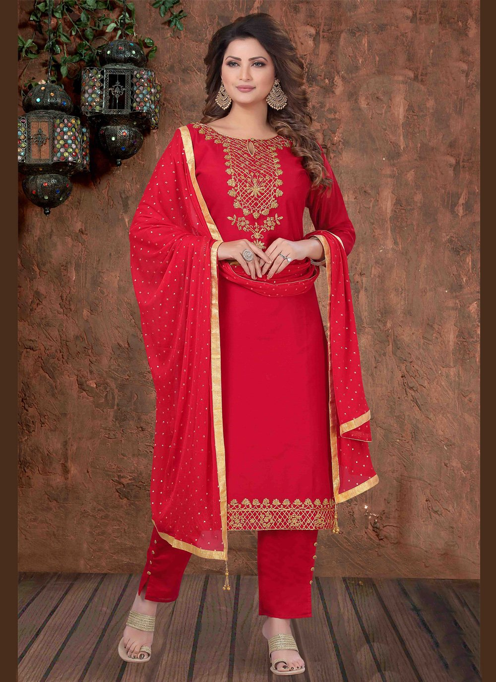 Art Silk Red Embroidered Designer Salwar Suit