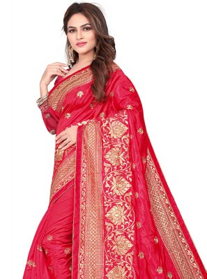 Art Silk Red Embroidered Silk Saree