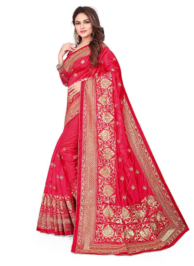 Art Silk Red Embroidered Silk Saree
