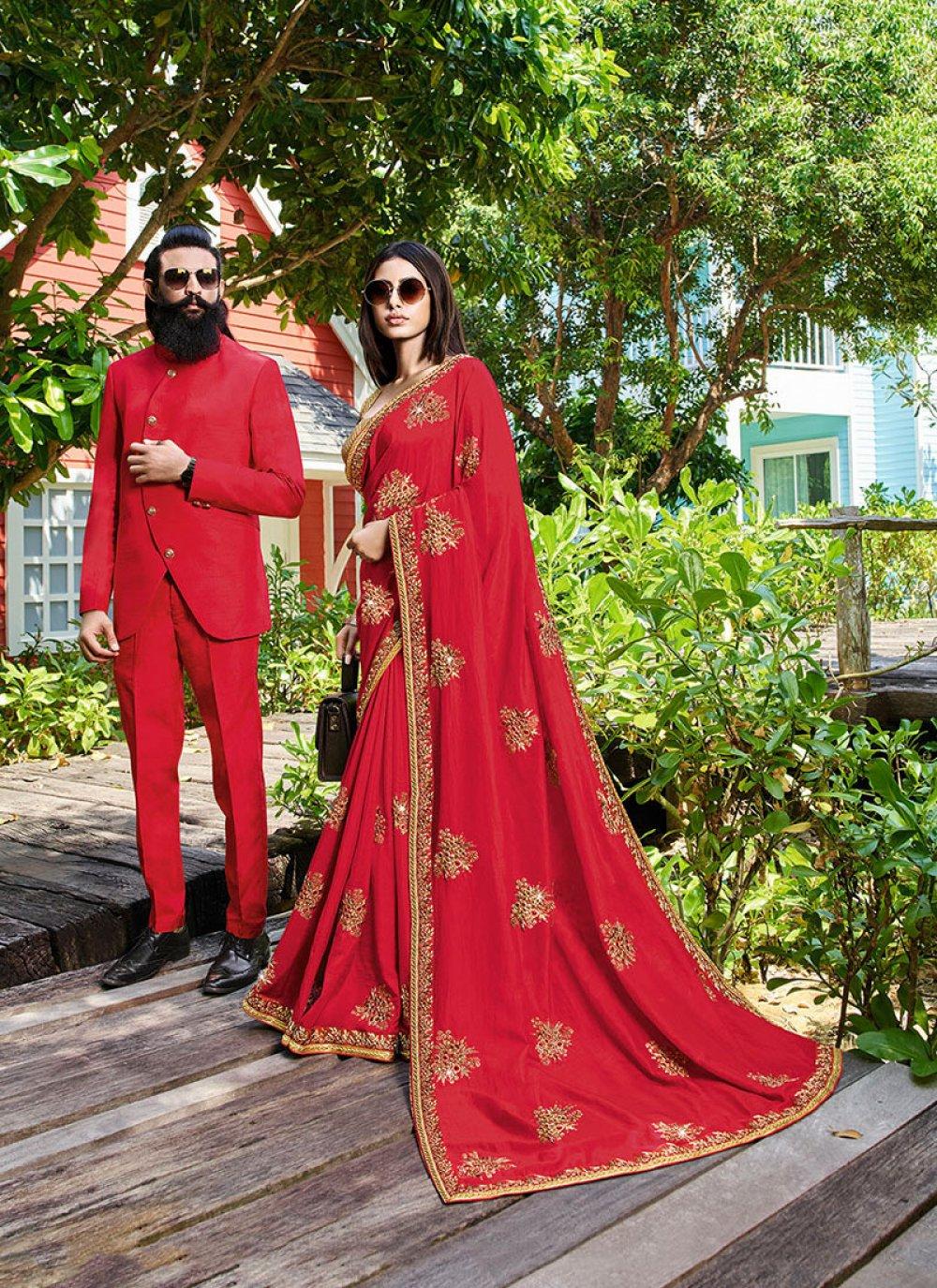 Art Silk Red Patch Border Traditional Designer Saree