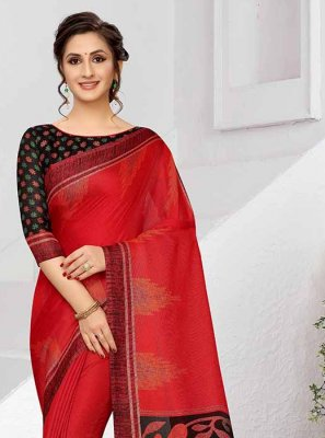 Art Silk Red Printed Saree