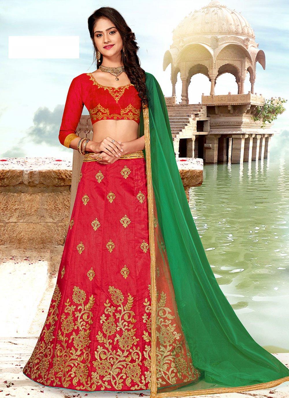 Art Silk Red Stone A Line Lehenga Choli