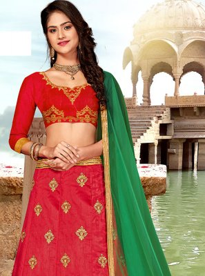 Art Silk Red Stone A Line Lehenga Choli