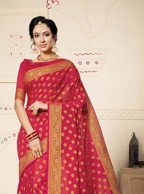 Art Silk Red Weaving Classic Designer Saree
