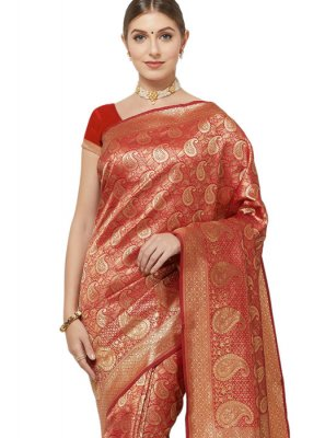 Art Silk Red Woven Classic Saree