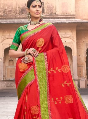 Art Silk Red Woven Designer Traditional Saree