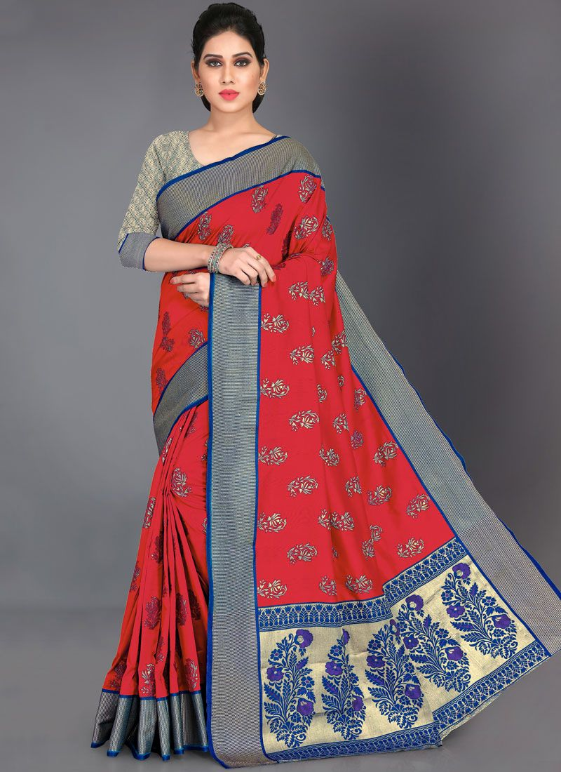Art Silk Red Woven Traditional Saree