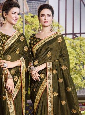 Art Silk Resham Classic Saree in Green