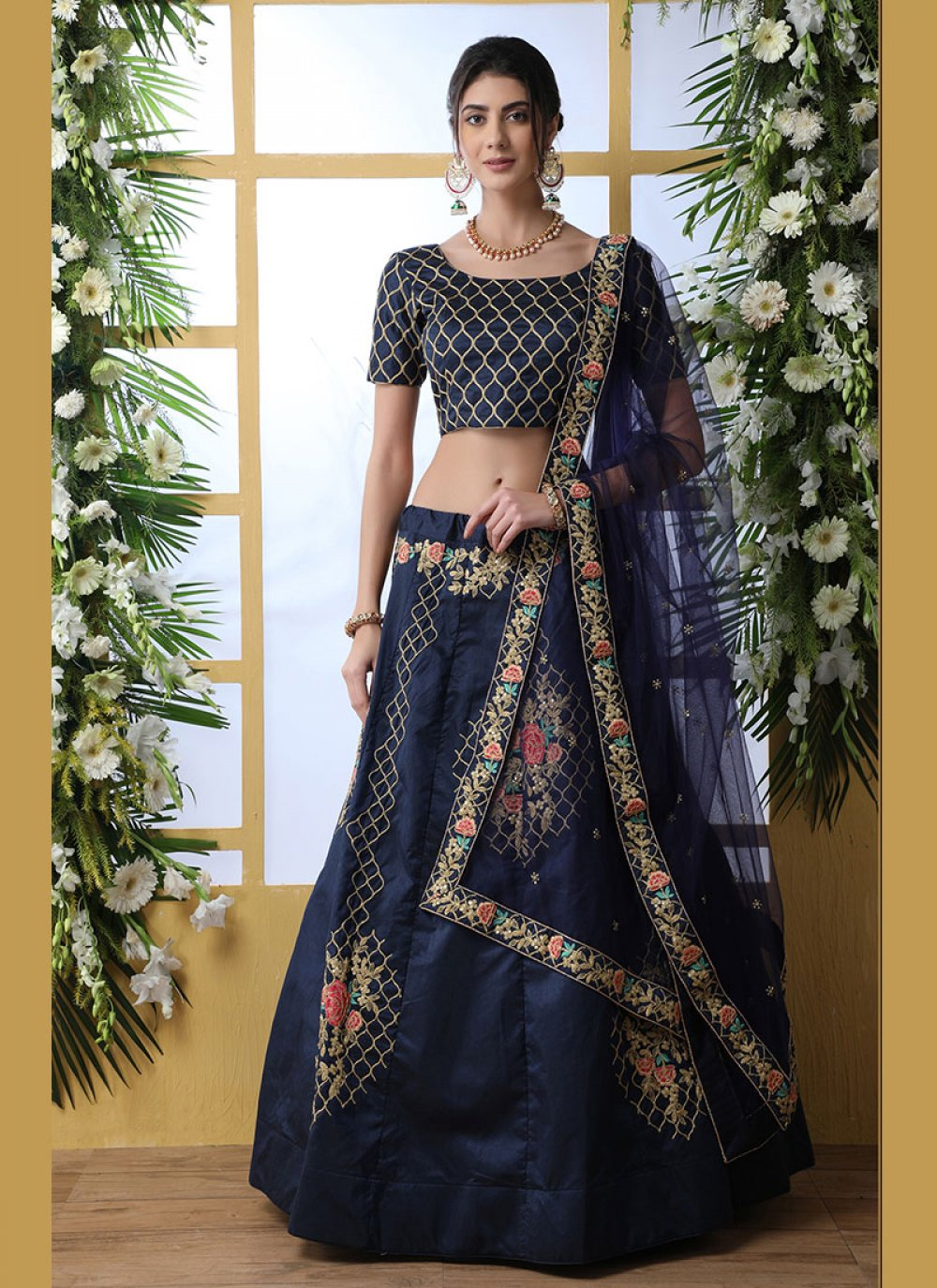 Art Silk Resham Designer Lehenga Choli in Blue