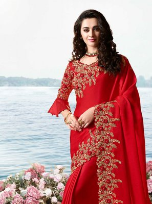 Art Silk Resham Red Traditional Designer Saree