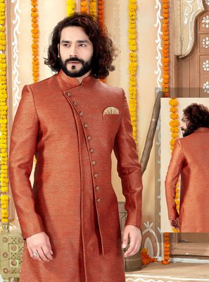 Art Silk Rust Sherwani