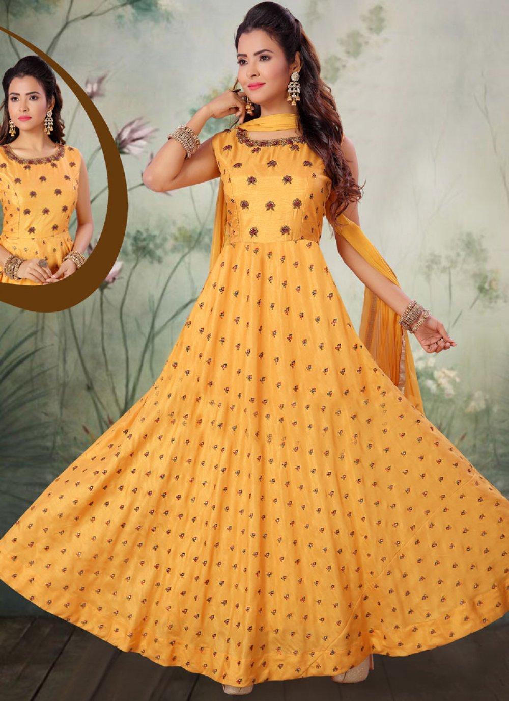 Art Silk Salwar Kameez in Yellow