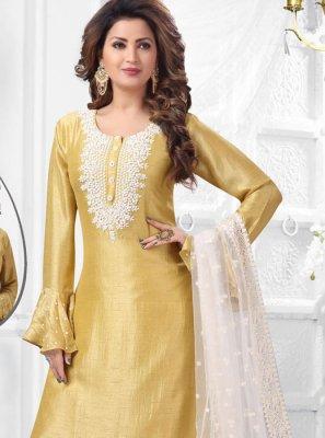 Art Silk Salwar Suit in Yellow