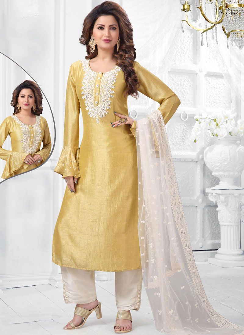 Art Silk Salwar Suit in Yellow