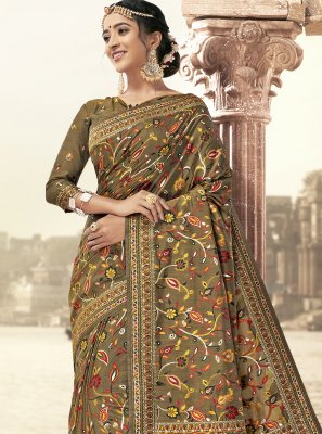 Art Silk Saree in Brown