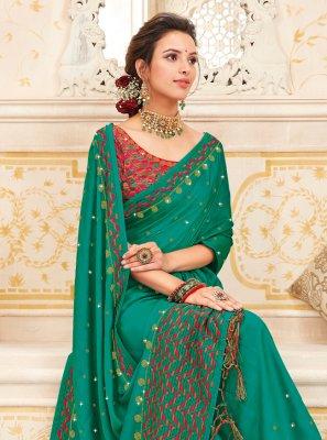 Art Silk Sea Green Embroidered Saree