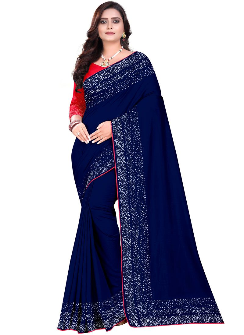 Art Silk Stone Blue Designer Saree