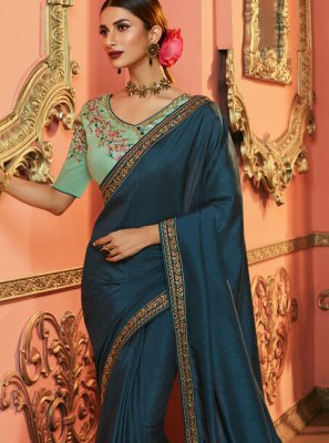 Art Silk Teal Silk Saree