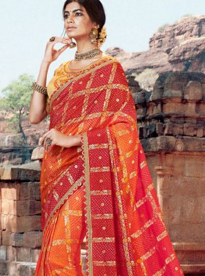 Art Silk Thread Bandhej Saree in Multi Colour