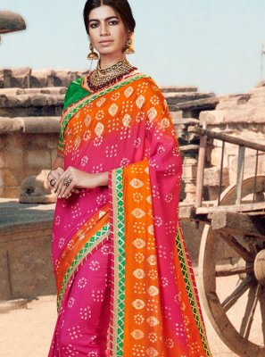 Art Silk Thread Multi Colour Bandhej Saree
