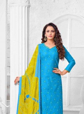 Art Silk Thread Salwar Kameez in Blue