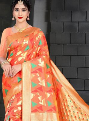Art Silk Traditional Saree in Orange