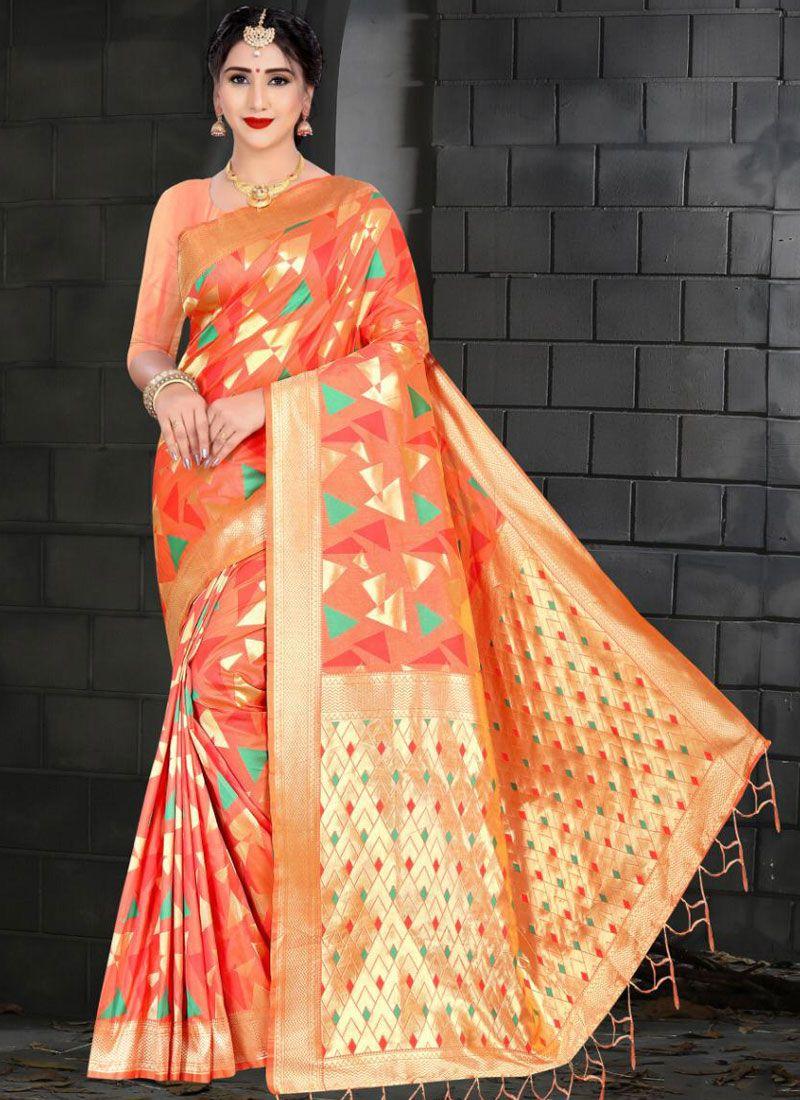Art Silk Traditional Saree in Orange