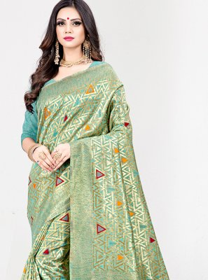 Art Silk Turquoise Weaving Designer Traditional Saree